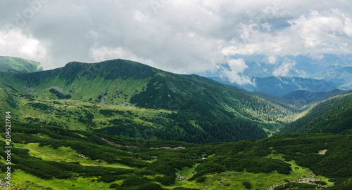Foto op Aluminium Bleke violet Beautiful view of the green hills and clouds in the Carpathian Mountains