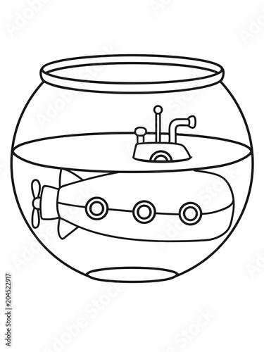 Aquarium Haustier Fisch Glas Goldfisch U Boot Schwimmen Tauchen