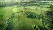 Leinwanddruck Bild - aerial shot from the drone - spring fields