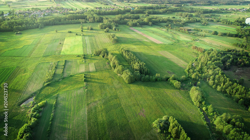 Montage in der Fensternische Luftaufnahme aerial shot from the drone - spring fields