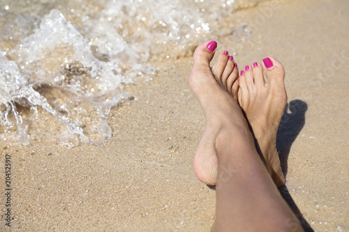Foto op Aluminium Akt Enjoying a beautiful beach