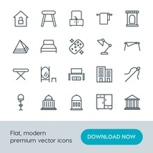 Modern Simple Set Of Buildings, Furniture, Housekeeping Vector Outline Icons. Contains Such Icons As  Justice,  Architecture,  House,  Soft And More On White Background. Fully Editable. Pixel Perfect.