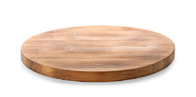Wooden Board On White Background. Kitchen Accessory