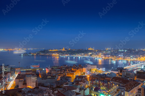 Garden Poster Barcelona Long exposure panoramic cityscape of Istanbul at a warm calm eve