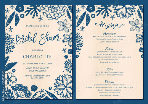 Bridal Shower invitation and menu set with floral elements Canvas Print