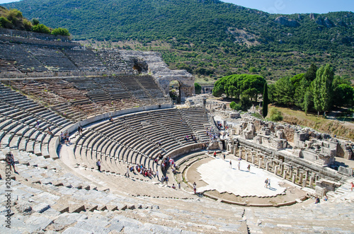 Efes, Turkey - October 1, 2015: People are visiting the ancient city of Ephesus Canvas Print