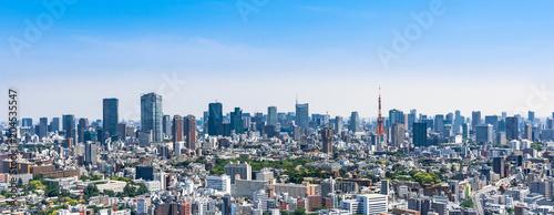 Poster Tokyo 東京 青空と都市風景 ワイド