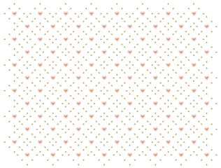 Pink and white seamless pattern with golden hearts. Classic backdrop for invi...