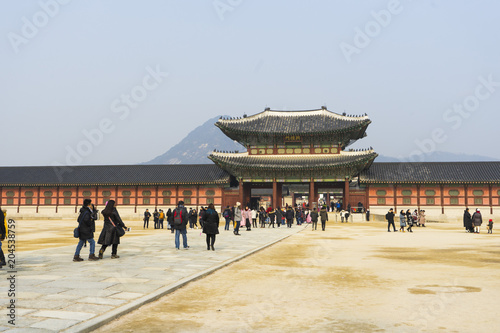 Canvas Prints Peking Gyeongbokgung palace with a lot of people in Seoul, South Korea.
