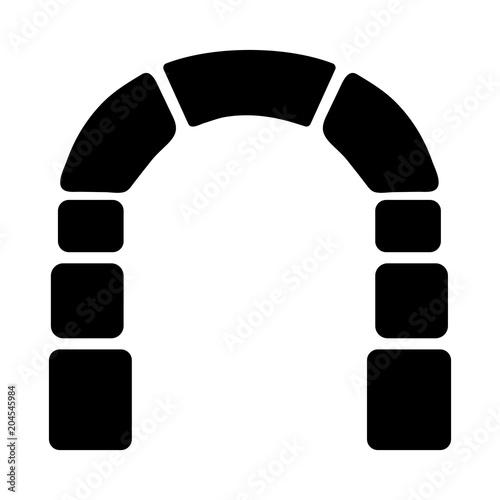 Fotografie, Obraz  Simple silhouette (black) illustration of an archway/door