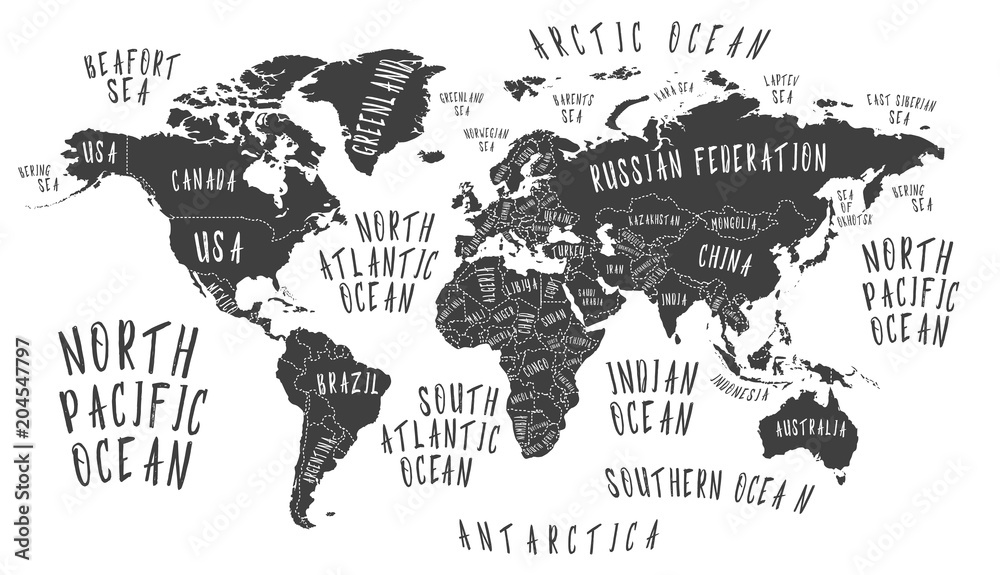 Fototapety, obrazy: Earth map with the name of the countries