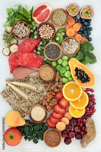 Aluminium Prints Healthy high fibre dietary food concept with fruit, vegetables, nuts, seeds, cereals, whole grain seeded crackers, whole wheat pasta & herbs. High in antioxidants, anthocyanins, omega 3 and vitamins.