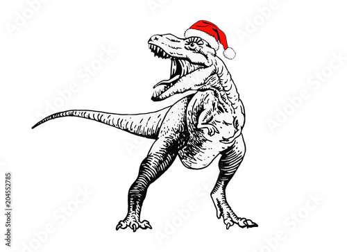 Photo  Graphical dinosaur in Santa Claus hat isolated on white background,new year illu