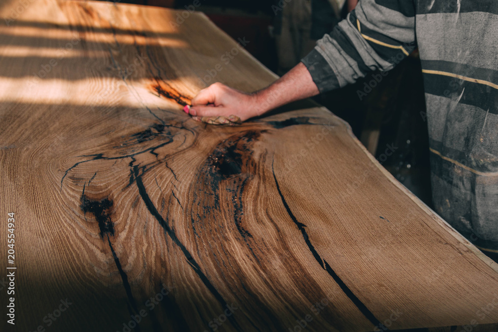 Fototapety, obrazy: wooden table in solid oak with epoxy resin.