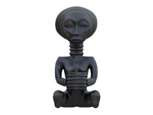 Black African Sculpture Of A Woman With A Vessel Isolated On A White Background 3d Rendering