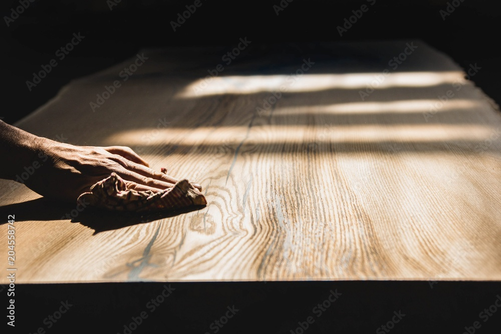 Fototapety, obrazy: polished wooden table from solid oak.