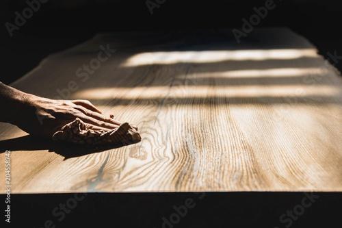 Obraz polished wooden table from solid oak. - fototapety do salonu