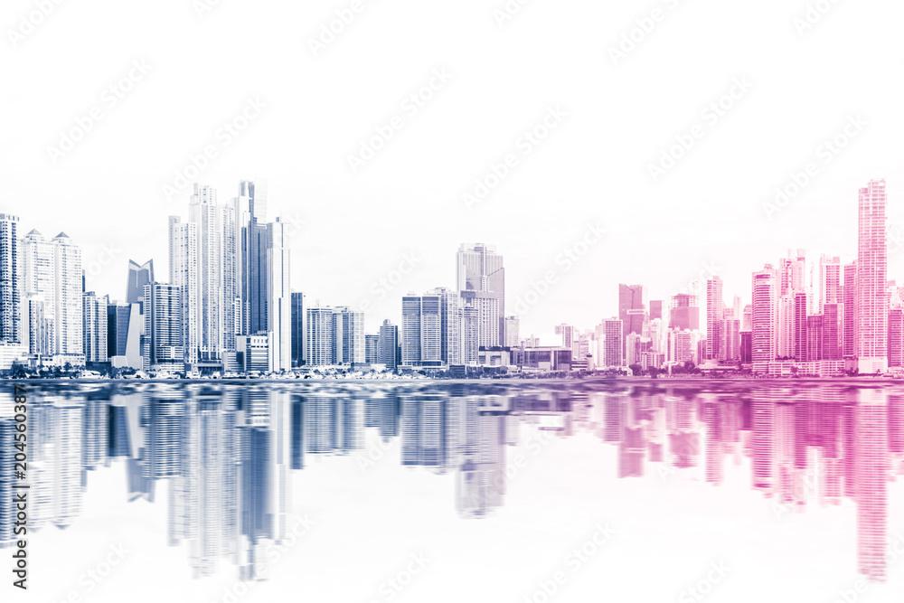 Fototapety, obrazy: modern skyline abstract style skyscraper buildings on white background -