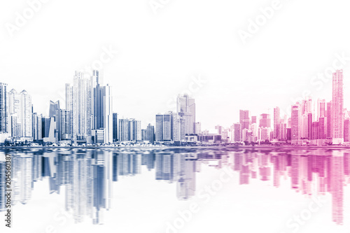 modern skyline abstract style skyscraper buildings on white background -