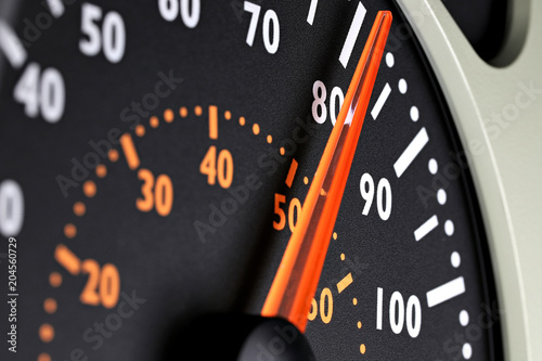 Fotografiet  speedometer of a truck at cruising speed of 80 km/h