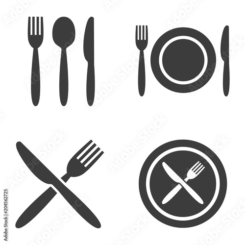 Plate, fork, spoon and knife icons. Fototapet