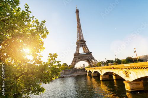 Foto op Plexiglas Parijs Seine in Paris with Eiffel tower in sunrise time
