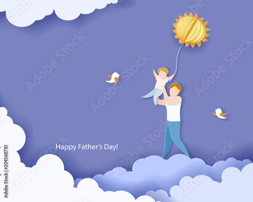 Poster Ciel Handsome man with his son. Happy fathers day card. Paper cut style. Vector illustration