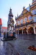 The Bremen Roland statue and Old Town Hall in the market square (Rathausplatz) of Bremen, Germany, erected in 1404.