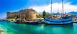Leinwandbild Motiv Landmarks of Cyprus -  Kyrenia town , medieval fortress in northen turkish part