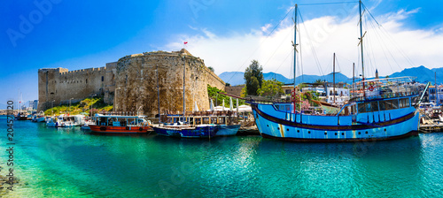 Poster Northern Europe Landmarks of Cyprus - Kyrenia town , medieval fortress in northen turkish part