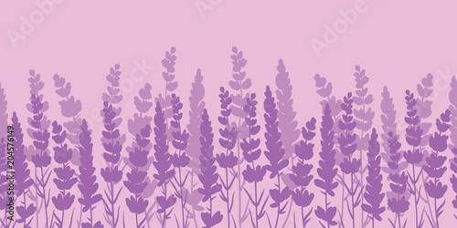 Photo  Lavender flowers purple border seamless pattern