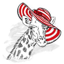 Funny Giraffe In A Beach Hat A...