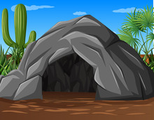 A Stone Cave At Desert
