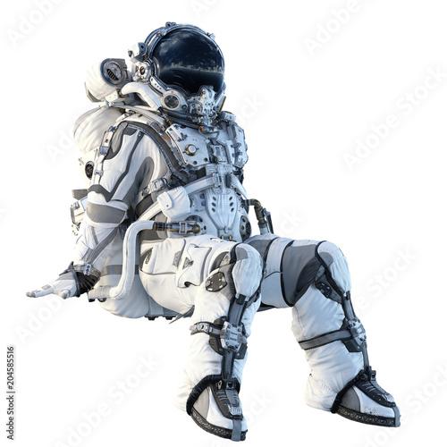 Astronaut on white. Mixed media Poster Mural XXL