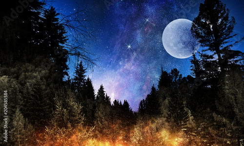 Keuken foto achterwand Restaurant Full moon in night starry sky