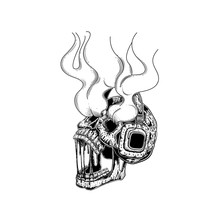 Skull With Headphones. Vector Illustration Of A Skull Listening To The Music. Skeleton Wearing Headphones Front View. Tattoo Design. Line Art Hand Draw. For Poster Sticker And Card.