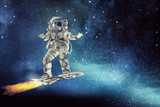 Spaceman on flying board. Mixed media - 204586901