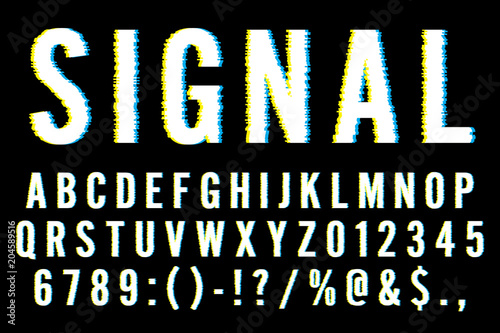 Fotografie, Obraz  Trendy Distorted Glitch Font Typeface Letters, Numbers and Symbols Vector Illust