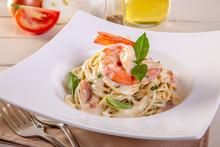 Spaghetti With Shrimp And Basi...