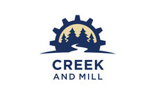 River Creek Wheel Gear Mill Cog, Fir Pines Evergreen Forest Nature Logo Design