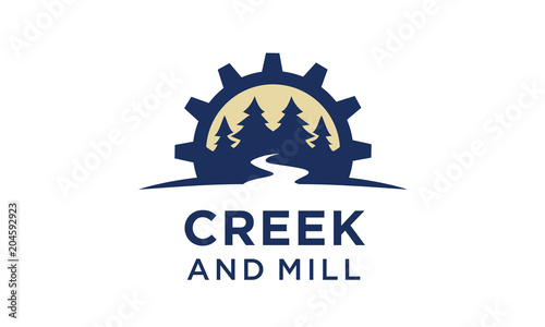 River Creek Wheel Gear Mill Cog, Fir Pines Evergreen Forest Nature logo design Poster Mural XXL