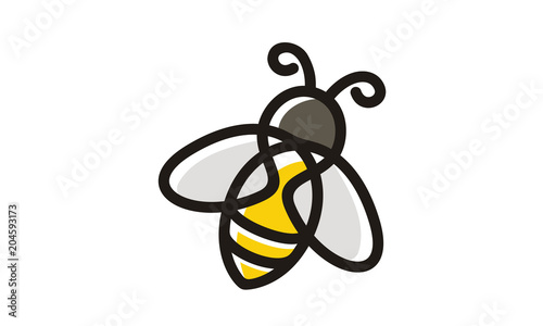 Foto Cartoon Line Art Honey Bee Bumblebee logo clip art design inspiration