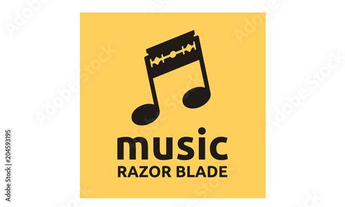 Music Notes and Razor Blade logo design inspiration Wallpaper Mural