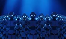 Group Of Robots On Blue Backgr...