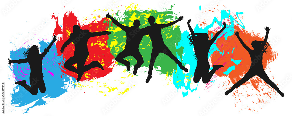 Fototapeta Jumping youth on colorful background. Jumps of cheerful young people, friends. Joy of the youth crowd of colorful blobs