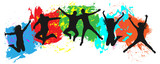 Jumping youth on colorful background. Jumps of cheerful young people, friends. Joy of the youth crowd of colorful blobs