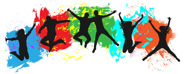 Jumping youth on colorful background. Jumps of cheerful young people, friends...