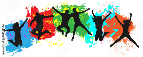 Fototapeta Jumping youth on colorful background. Jumps of cheerful young people, friends. Joy of the youth crowd of colorful blobs obraz