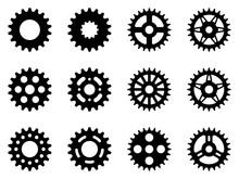 Sprocket Wheel Icon Set. Silhouette Vector
