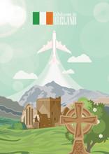 Ireland Vector Illustration With Landmarks, Irish Castle, Green Fields.